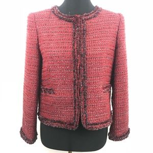Alice + Olivia Boucle Jacket Red Evening Coat Wool
